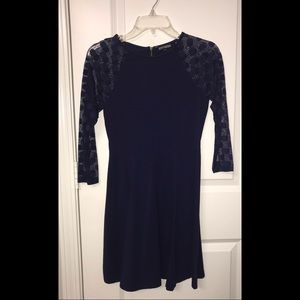 Polka Dot Sleeve Navy Dress